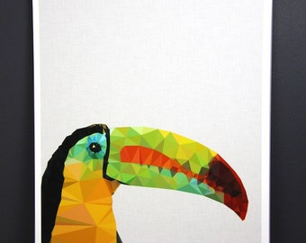 Original Toucan australian geometric art original print local artist