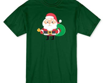 Santa Claus With Bell And Christmas Presents Bag  Men's Forest Green T-shirt