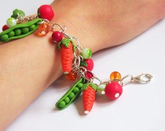 Vegetable Bracelet (veggie bracelet carrot bracelet green peas bracelet charm bracelet miniature vegetable mini food bracelet polymer clay)
