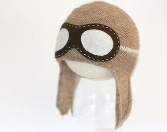 Newborn aviator hat  - Baby Pilot hat - Aviator hat with goggles - Baby Flyer knit hat - Pilot knit hat - Photography prop