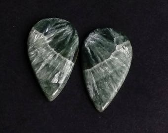 Seraphinite Pear Smooth Cabochon, Natural Seraphinite Designer Cabochon Pair, 32x19 MM, 33 Cts, Loose Gemstone Pair.