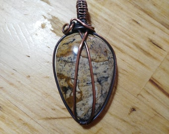Brown Jasper Pendant-Wirewraped-handcrafted-Unique-