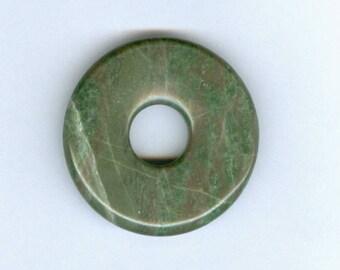 Green Donut Pendant, 40mm Green Brown and Cream Lines Jasper PI Donut Pendant 1218T