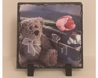 Cute Teddy Bear, Suitcase & Rose Slate