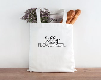 Flower Girl Tote, Flower Girl Gift, Flower girl, personalized wedding tote, personalized flower girl tote, wedding party tote