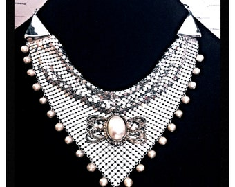 """Vintage """"Chainmaille and Pearls"""" Elegant Statement Necklace - OOAK - FREE SHIPPING!"""