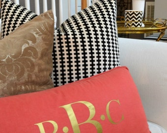 Iron-On Three-Initial Silver or Gold Monogram (Perfect for Pillows)