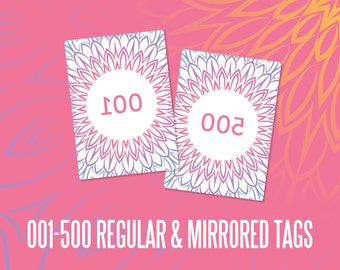 live sales numbered Tags 2.5 x3.5 inches, mirrored cards, instant Download, numbers, Office Approved Mandala, Marketing