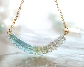 Multicolor aquamarine necklace, minimal gemstone bib necklace, march birthstone necklace, rainbow shaded bar necklace, ombre row necklace