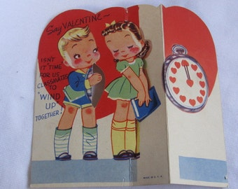 vintage Valentines Day circa 1940s sweethearts and clock