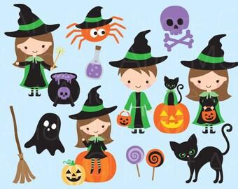 Cute Witch Clipart Trick or Treat Clipart Cute Witch Clip Art Wizard Clipart Halloween Clipart Halloween Black Cat Clipart Pumpkin Clipart