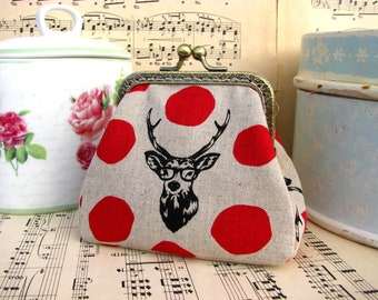 funny coin purse clutch with deer in glasses, kiss lock purse