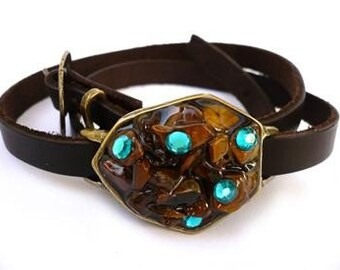 Leather Wrap Bracelet - Women's Leather Bracelet - Wrap Leather Bracelet - Wrap Bracelet - Leather Bracelet - Statement Bracelet