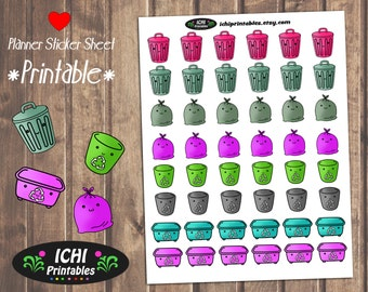 Garbage Printable Planner Stickers, Cute garbage Stickers, Trash Day Planner Stickers, Recycle Trash Stickers, Take Out Trash, Erin Condren