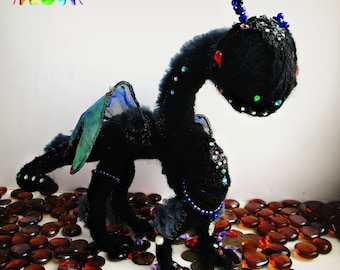 Toy Black Shine Dragon,Charm the Beast,Terrible Defender Cute,Perfect Gift,Decoration for room,Beautiful Mobile Toy,Mystical Animal