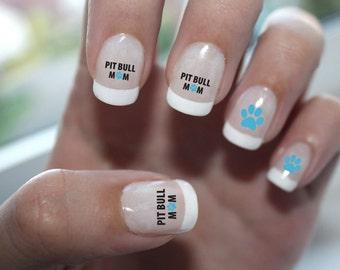Pit Bull Mom Nail Art - Pit Bull Nail Art, Pitbull Nail Art, Pit Bull Nail Decals, Pitbull Nail Decals, Pitbull Nail Designs, Pitbull,Pittie