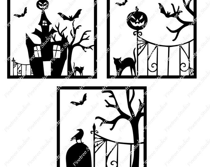 3 Halloween Graveyard Scenes SVG Digital Download / Cuttable / Clip Art / Stencil / Silhouette / Cricut / Printable / Color Book / Decal