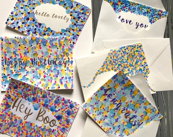 Handmade Greeting Card in Cool Blue