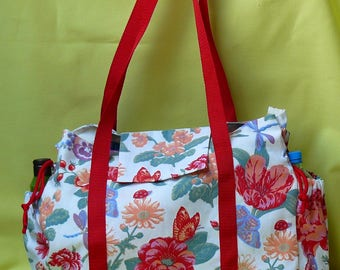 shoulder bag Tote lined red floral items port red strap