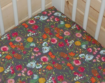 gray floral crib  bedding- floral crib sheet or floral changing pad cover- mini fitted crib sheet- gray floral baby bedding