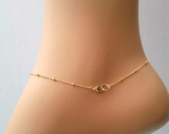 Satellite bracelet, Anklet,14Gold Filled, Sterling Silver Anklet, Thin Delicate Anklet, Ankle bracelet, dot anklet, Beaded Gold Chain