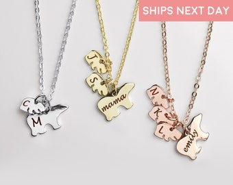 Custom Hand Stamped Mama Bear Necklace Personalized Necklace for Grandma Personalized Gift for Mom Mommy And Me kids art gift mom - SMBN