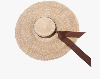 With bowknot straw straw hat character large flat eaves flat hat bind hat