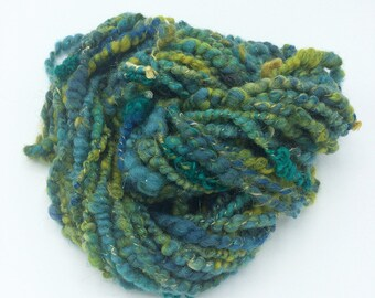 "Handspun Art Yarn, ""Pond"", 21 yards, corespun textured novelty yarn, bulky yarn, weaving yarn"