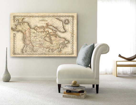 Map of Canada 1855 Canadian Map Vintage Canada Map Restoration Decorator Old Style maps Wall Map decor new home housewarming gift map art