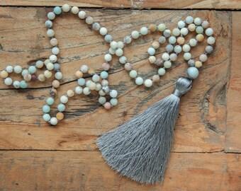 108 amazonite mala stones / Amazonite Mala necklace /  earth necklace / Hand knotted 108 Amazonite beads with grey tassel