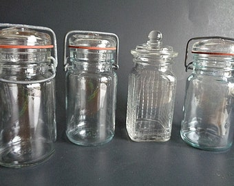 Vintage Jelly Jar Lot Glass Lids with Bales and Waffle Side Jar