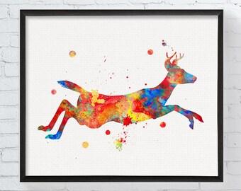 Jumping Deer Art Print, Deer Watercolor Print, Deer Wall Art, Wildlife Art, Forest Animals, Animal Watercolor Painting, Woodland Nursery Art