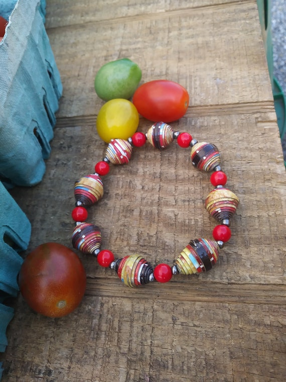 Boho stretch bracelet- brown/ red/ Haitian paperbeads
