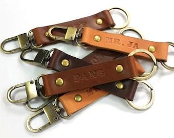Mens Keychain, Leather Keychain, Custom Keychain, Bestman Gift,Couple Keychain, Personalized Leather Keychain, Keyring, Keyfob, Keyholder
