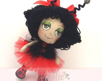 Lady Birdie, Cute ladybird inspired, collectable cloth art doll