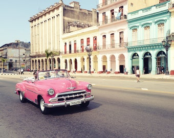 Cuba Print, Havana Cuba Photography, Pink Car, Classic Automobile, Colorful Buildings, Architecture, Pastel Colors, Wall Art, Travel Decor