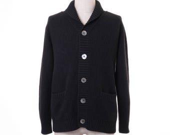 Men Cashmere Full Rib Knit Cardigan - 100% Premium Cashmere