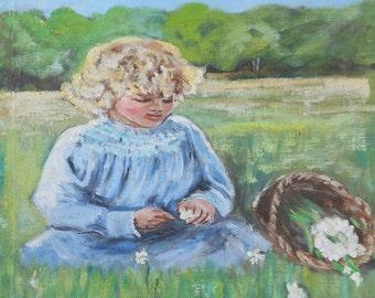 Vintage oil painting girl in blue dress picking flowers
