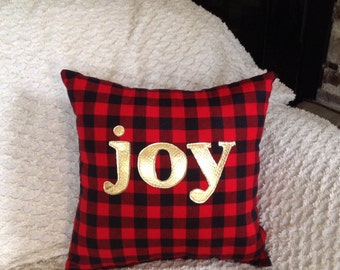 Holiday Pillow, Christmas Decorations, Gifts Under 30, Joy Pillow, Holiday Decorations Under 50, Metallic Home Decor, Last Minute Gifts