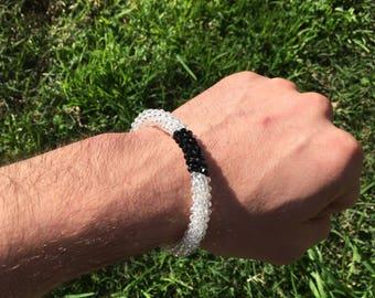 White Belt bracelet (fire polished glass)