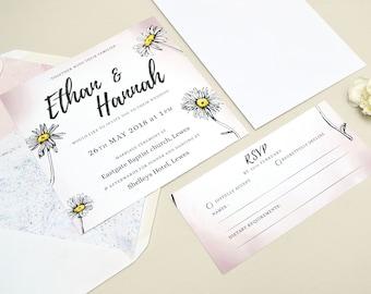 Rustic Pastel Daisy | Wedding Invitation & RSVP | A5 Printed Design