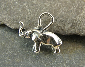 Itty Bitty Little Lucky Elephant - Sterling Silver Charm - One Piece - cible