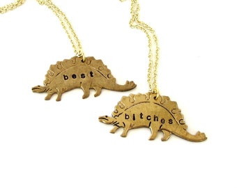 best bitches necklace set . stegosaurus necklace set . personalized dinosaur custom jewelry bff necklace . best friend gift