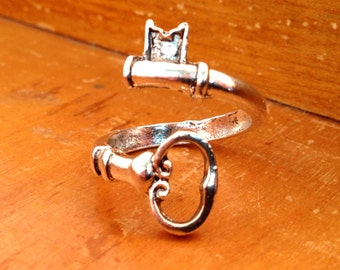 Skeleton Key Wrap Around Ring Silver Vintage Style Adjustable Spoon Ring Silver Couple Statement Resizable Ring  (070)