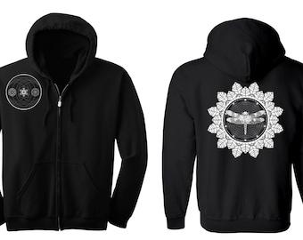 DRAGONFLY Mandala Hoodie Men's and Women's Geometric Moon Black Hooded Sweatshirt Sacred Geometry