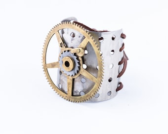 Metal Cuff Made From Vintage Erector Set and Clock Parts