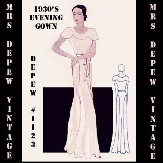Vintage Sewing Pattern 1930\'s Evening or Wedding Gown in
