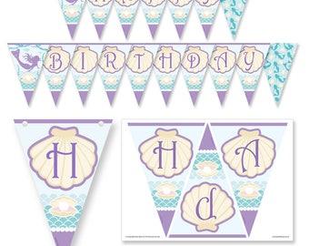 Mermaid party HAPPY BIRTHDAY Bunting PDF Download