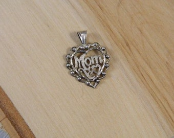 Vintage Sterling Silver Heart Pendant, Sterling Silver Mom Pendant, Vintage Silver Pendant, Peruvian Silver Mothers Love Silver Charm