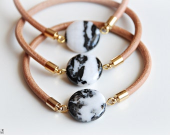Leather bangle - Zebra Jasper stone bracelet